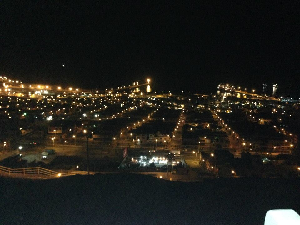 A photo of Ilo Peru from above at night