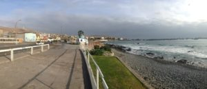 Wide angle photo capturing part of the pier walk in Ilo Peru