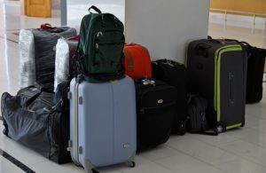 Lots of suitcases in an airport